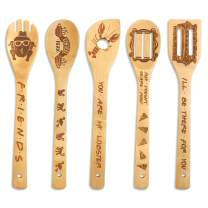Friends Wooden Spoons Set of 5 - Friends TV Show Merchandise Novelty Kitchen Cooking Utensils Engraved Burned Bamboo Spoons Housewarming Birthday Wedding Gift Idea Funny Kitchen Decor