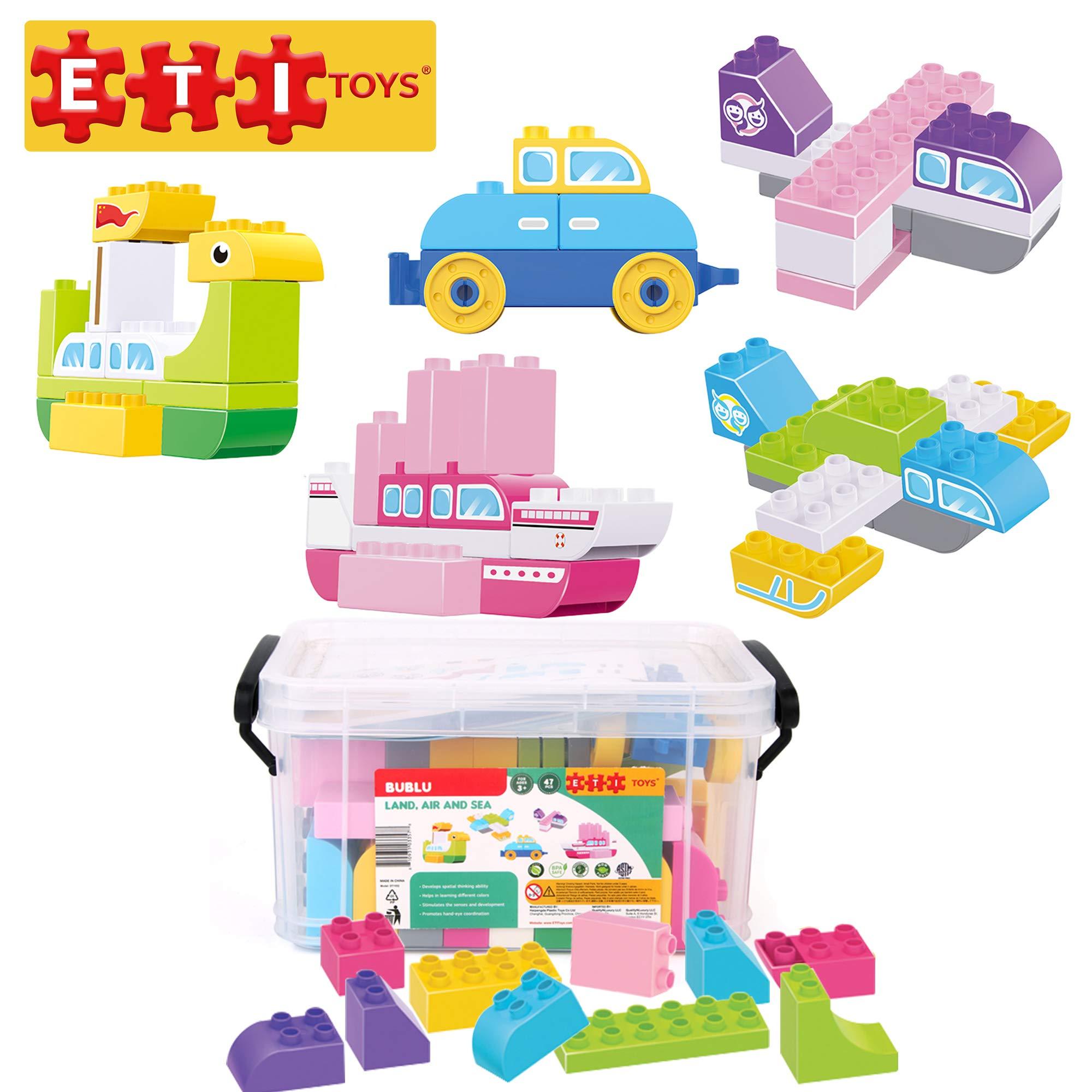 ETI Toys, 47 Piece Bublu Land, Air and Sea Building Blocks. Build Yacht, SUV, Seaplane, Sailplane. 100 Percent Safe, Fun, Creative Skills Development. Toy Gift for 3, 4, 5 Year Old Boys and Girls