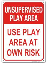 """Unsupervised Play Area Play at Your Own Risk Sign, 10"""" x 14"""" Industrial Grade Aluminum, Easy Mounting, Rust-Free/Fade Resistance, Indoor/Outdoor, USA Made by MY SIGN CENTER"""