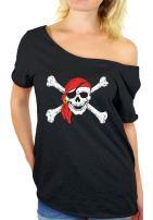 Jolly Roger and Crossbones Sugar Skull Off Shoulder top T-Shirt