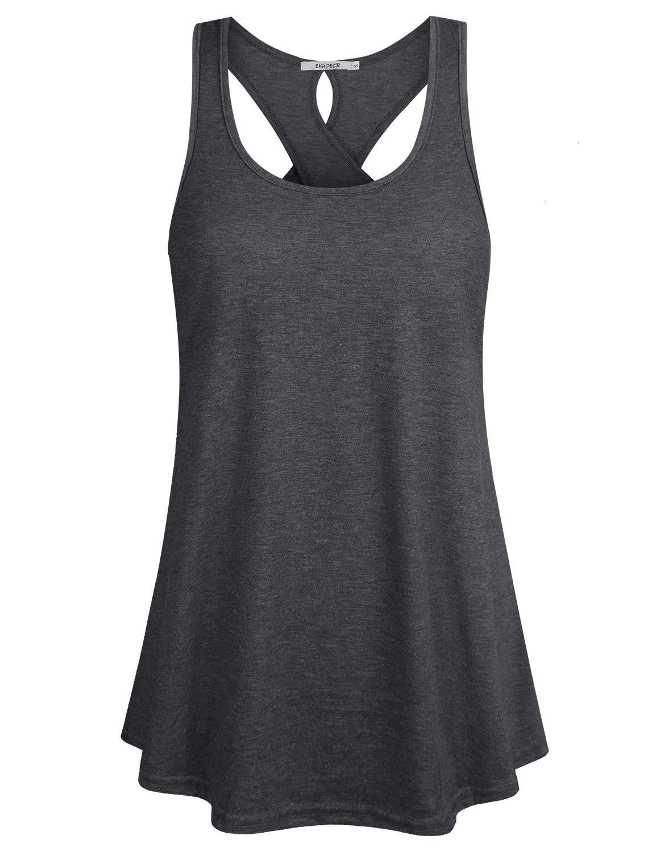 ZKHOECR Women's Sleeveless Scoop Neck Loose Fit Cross Back Casual Yoga Tank Top