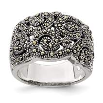 925 Sterling Silver Marcasite Band Ring Fine Mothers Day Jewelry For Women Gifts For Her
