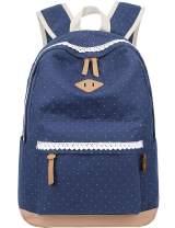 Mygreen Lightweight Canvas School Backpack for Girls Boys for Middle School Cute Bookbag Outdoor Travel Daypack Blue