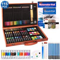 115 Piece Deluxe Art Set, Shuttle Art Art Supplies in Wooden Case, Painting Drawing Art Kit with Acrylic Paint Pencils Oil Pastels Watercolor Cakes Coloring Book Watercolor Sketch Pad for Kids Adults