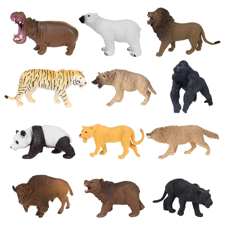 12 Pieces Forest Jungle Animal Figures Plastic Safari Animals Model Educational Toys for Kids Children (Lions,Tigers,Gorillas,Hippos,Pandas,Panthers,Polar Bear,Brown Bear,Wolves,Bison,Jackals,Lioness)