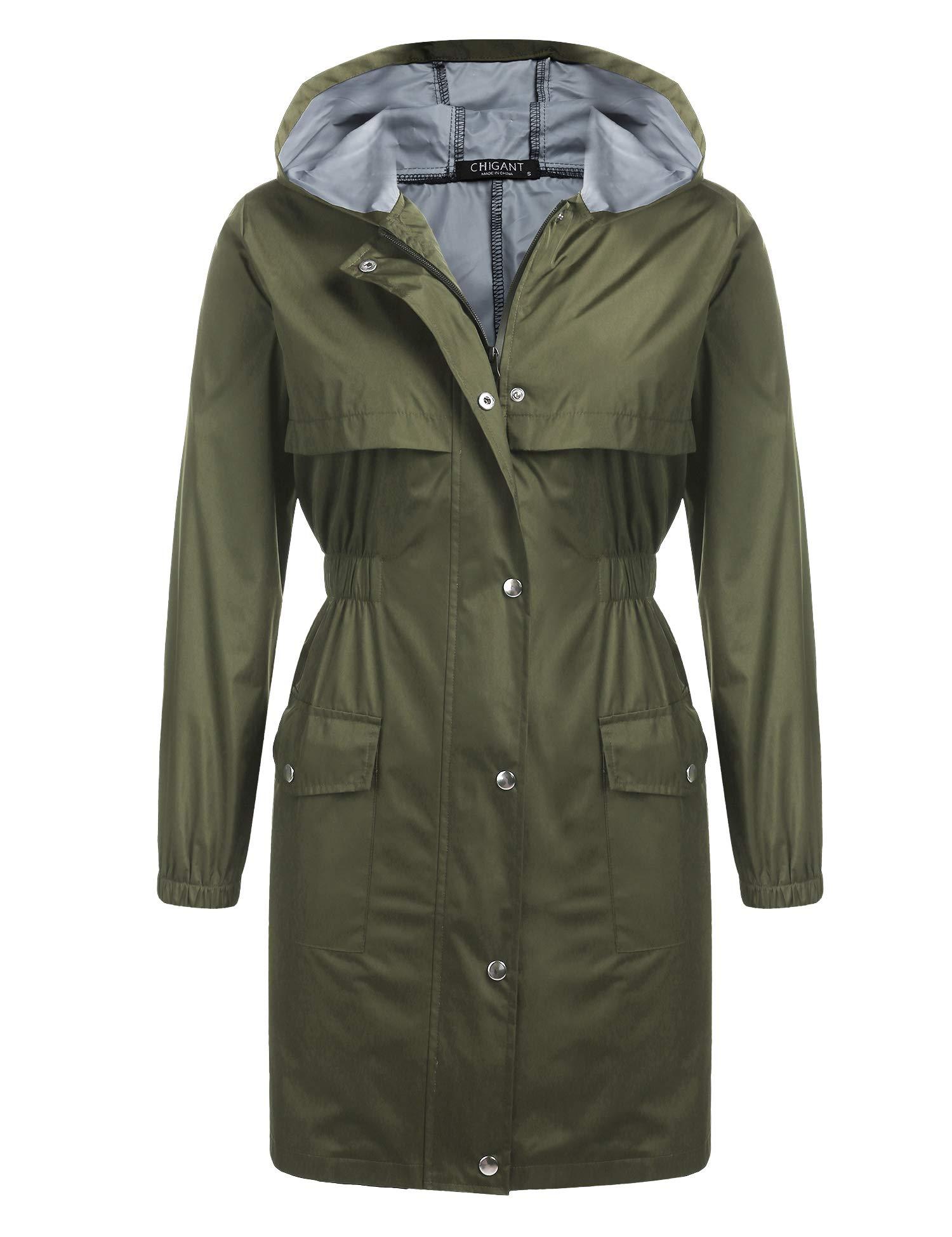 Chigant Women's Long Raincoat Lightweight Rain Jacket Waterproof Coat Jacket Windbreaker with Hooded