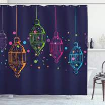 "Ambesonne Lantern Shower Curtain, Candles in Night Sketch in with Dots Motifs, Cloth Fabric Bathroom Decor Set with Hooks, 75"" Long, Dark Purple"