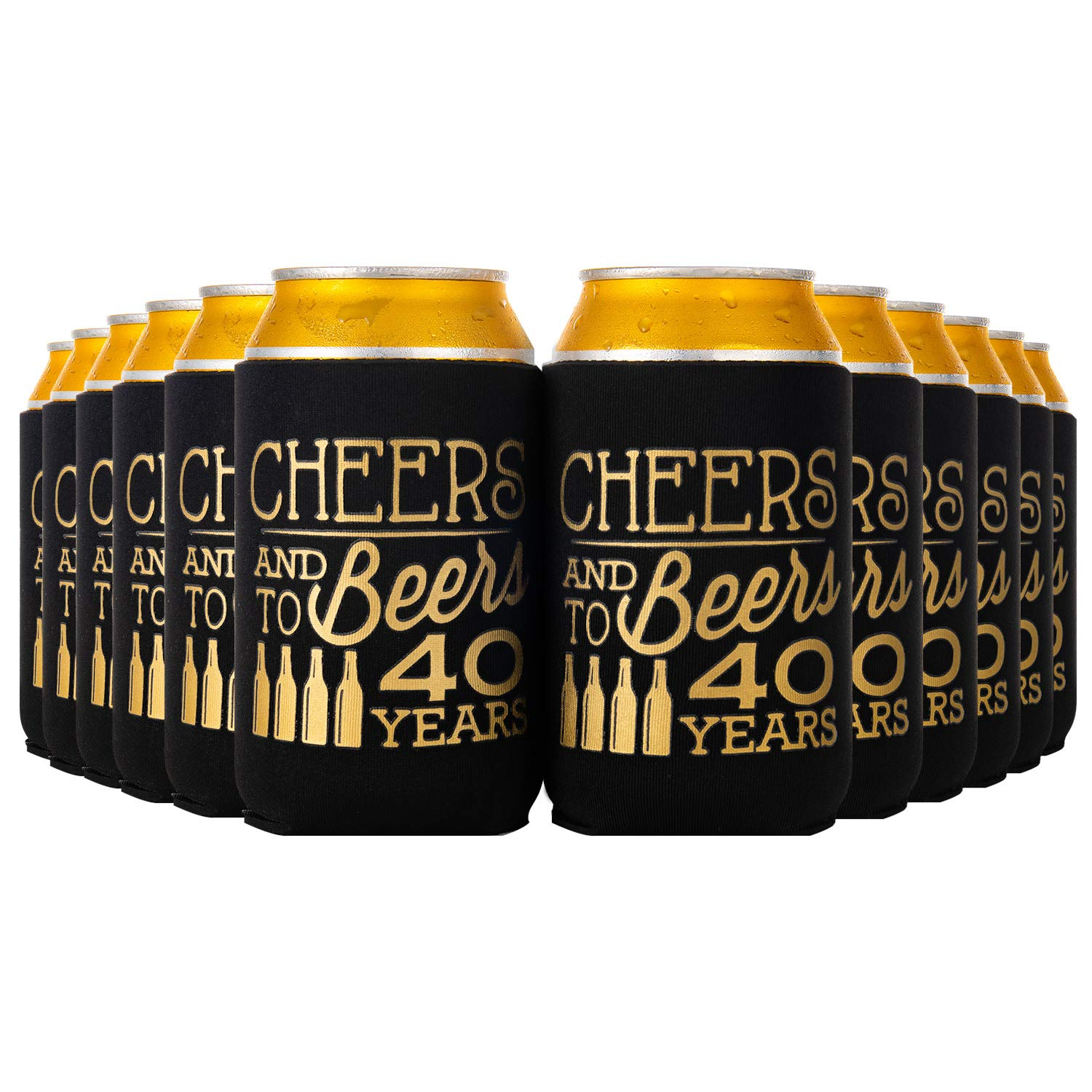 Crisky 40th Birthday Beer Sleeve,Cheers and Beers to 40 Years Birthday Decoration Party Favor Can Covers, 12-Ounce Neoprene Coolers for Soda, Beer, Can Beverage, 12 Pcs
