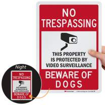 SmartSign Beware of Dog Sign - No Trespassing, Property Protected by Video Surveillance Sign, 10 x 14 Inches Reflective Metal, for Fence, Outdoor/Indoor Yard use