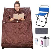 elifine Portable Steam Sauna Spa Home 2L Personal Therapeutic Sauna with Remote Control One Person Sauna Tent with Foldable Chair Timer (Coffee)