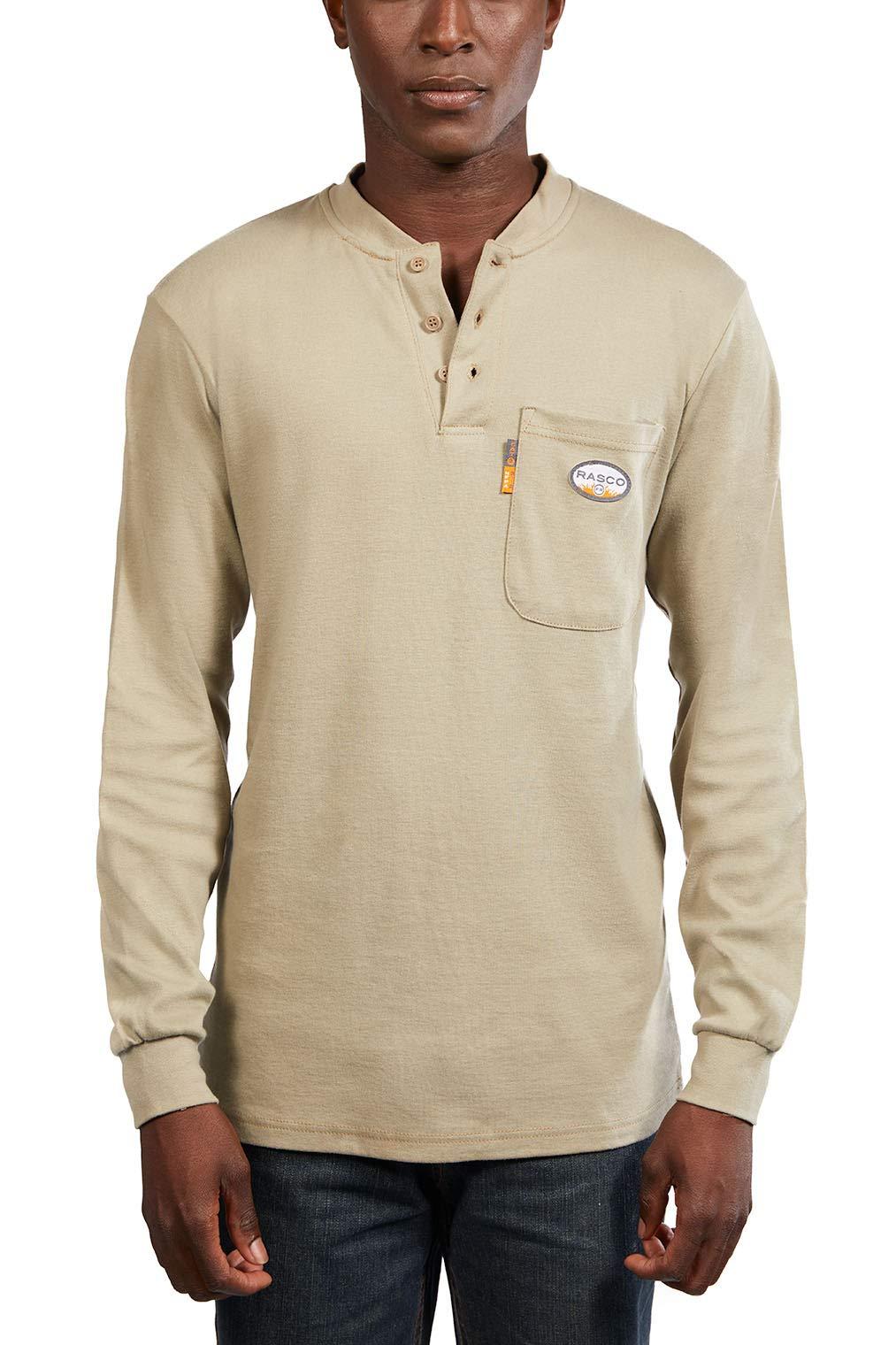Rasco FR Khaki Henley T-Shirt 100% Cotton - 6X-Large
