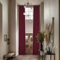 Macochico Extra Long Blackout Loft Curtains Bronze Grommet Room Drakening Drapes Thermal Insulated Curtains for Loft Living Room Bedroom Guest Room Red 50W x 144L Inch (1 Panel)