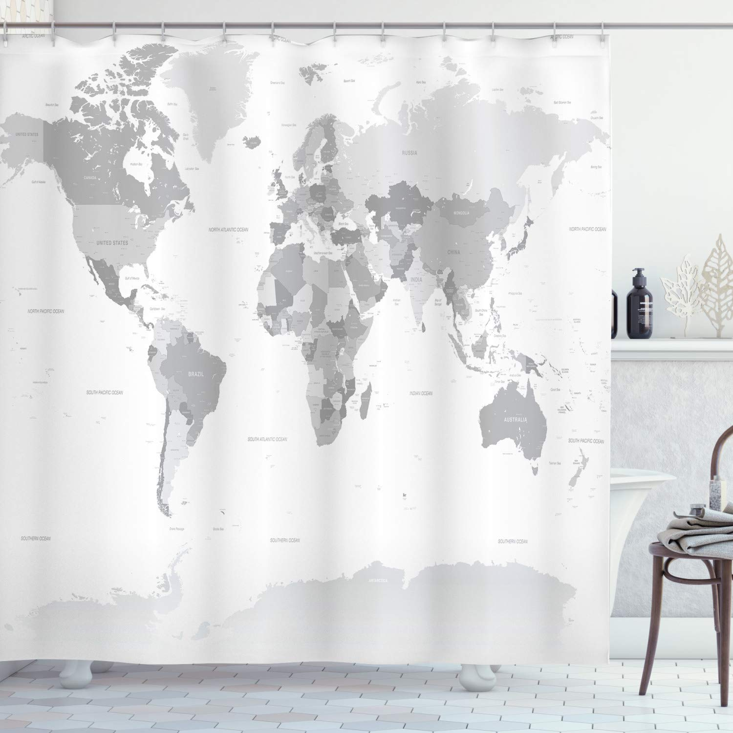 """Ambesonne Grey Shower Curtain, Detailed World Map with All Countries Major Capital Cities Universe Earth Continents, Cloth Fabric Bathroom Decor Set with Hooks, 70"""" Long, Grey White"""