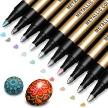 Metallic Marker Pens, Paint Pens for Rock Painting, Black Paper, Scrapbooking Kit, Photo Album, Card Making, DIY Craft, Glass, Wood, Set of 10 Metallic Colors - Medium Tip Paint Markers