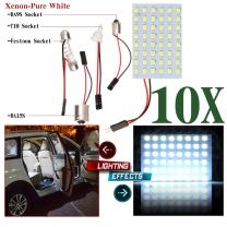 cciyu Car White LED 48SMD Panel Interior Dome Map Light Bulb Lamp + T10 BA9S BA15S Festoon Adapter (10pack)