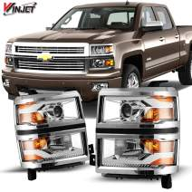 Winjet Compatible with [2014-2015 Chevrolet Silverado 1500] LED DRL Bar Projector Headlights, chrome (WJ10-0382C-01)
