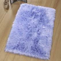 Noahas Luxury Fluffy Rugs Bedroom Furry Carpet Bedside Sheepskin Area Rugs Children Play Princess Room Decor Rug, 2ft x 3ft, Lavender