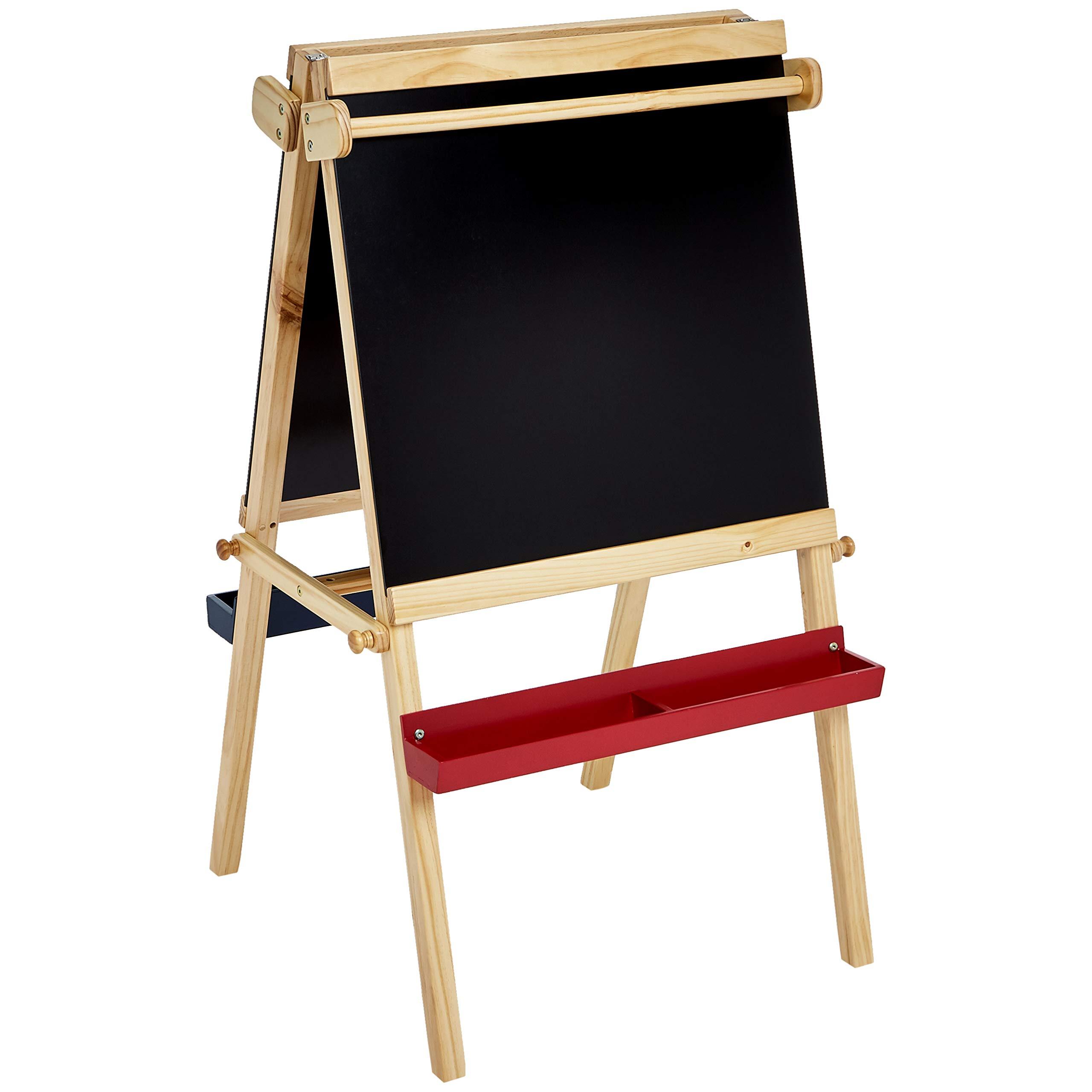AmazonBasics Kids Standing Art Easel, Dry-Erase Board, Chalkboard, 2 Paper Rollers