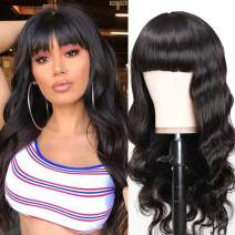 UNice Glueless Body Wave Human Hair Wigs With Bangs, Brazilian Virgin Hair Full Machine Made None Lace Front Wigs for Black Women 150% Density (20 inch, Natural Color)