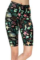 sissycos Women's Ocean Life Printed Biker Shorts Buttery Soft Workout Leggings