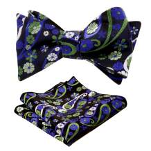 Alizeal Mens Woven Paisley Bow Tie and Handkerchief Set