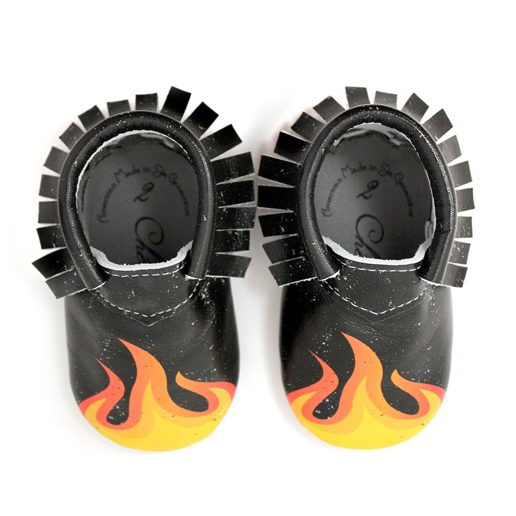 Hot Rod Flame Design Racing Fan Moccasin Printed 100% American Leather Moccasins for Babies & Toddlers Made in US