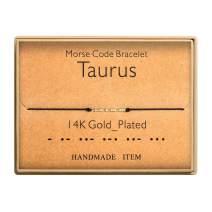 Morse Code Bracelet 14k Gold Plated Beads on Silk Cord Secret Message Taurus Zodiac Bracelet Gift Jewelry for Her
