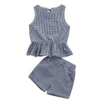 Toddler Baby Girl Clothes Plaid Tank Tops Blouse+Short Pants Outfit Set for Little Girls Kids