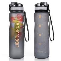 Liberlupus Water Bottle with Time Marker, 34 Oz Large, Eco Friendly & BPA Free Tritan Plastic, Leak Proof, Suitable for The Gym, Yoga, Running, Outdoors, Cycling, and Camping