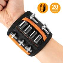 UNEEDE Adjustable Magnetic Wristband, Electrician Tool Belt with 20 Strong Magnets & Pocket for Holding Screws,Nails, Drill Bits and Plastic Accessories for Men,Women, DIY Handyman,Carpenter