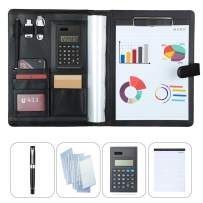 Simbow Business Padfolio-Simbow Professional Portfolio Case Folder Ring Binder Document Organizer with File Bags Calculator Note Paper Pen, Document Case Bag, Little Bags for Phone Cards (Ring Black)