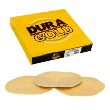 """Dura-Gold - Premium - 320 Grit 8"""" Gold PSA Self Adhesive Stickyback Sanding Discs for DA Sanders - Box of 10 Sandpaper Finishing Discs for Automotive and Woodworking"""