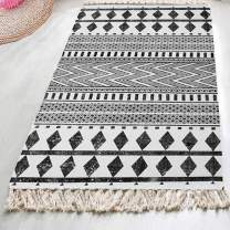 HEBE Extra Long Cotton Area Rug Runner 2.3'x 6' Machine Washable Printed Hand Woven Cotton Rug Runner Floor Carpet for Living Room,Kitchen Floor,Laundry Room,Throw Blankets for Sofa