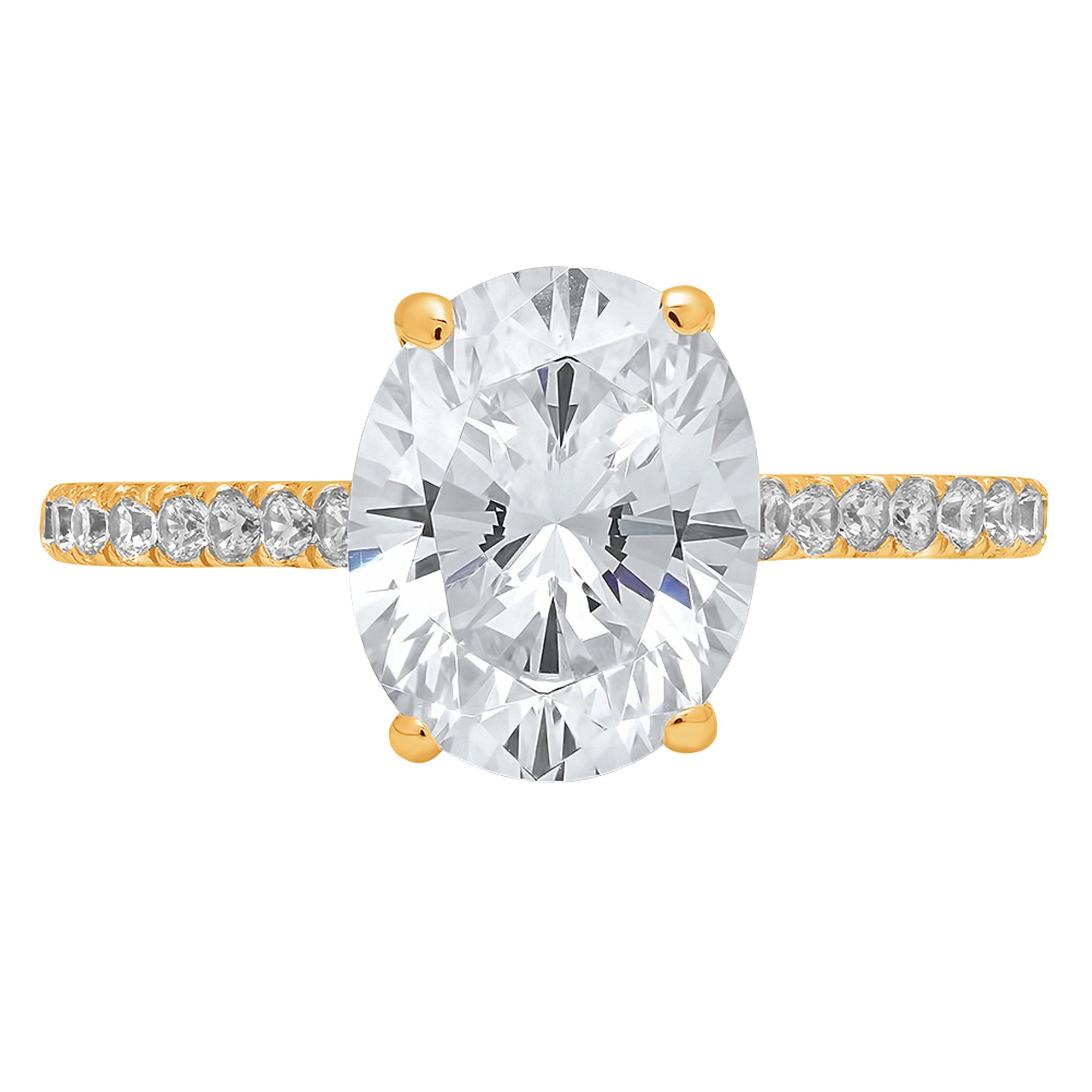 1.89ct Brilliant Oval Cut Accent Solitaire Engagement Anniversary Wedding Bridal Promise Ring in Solid 14k Yellow Gold for Women