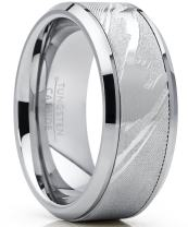Men's Tungsten Carbide Wedding Band Ring, Inlaid Simulated Damascus Pattern 9mm