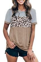 Yanekop Womens Short Sleeve Leopard Printed T Shirts Casual Color Block Striped Tunic Tops
