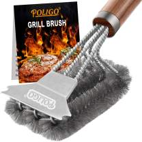 POLIGO Grill Brush and Scraper - Safe Stainless Steel Wire Bristles BBQ Brush Cleaner for Gas Infrared Charcoal Porcelain Grills - Best Gift Grill Rescue Cleaning Brush for Grill Wizard Grate Cleaner