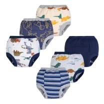 BIG ELEPHANT Baby Boys' 6 Pack Toddler Potty Padded 100% Pure Cotton Pee Training Pants Waterproof Underwear