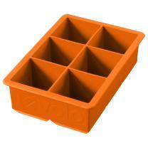 "Tovolo Inch Large King Craft Ice Mold Freezer Tray of 2"" Cubes for Whiskey, Bourbon, Spirits & Liquor Drinks, BPA-Free Silicone, Set of 1, Orange Peel"