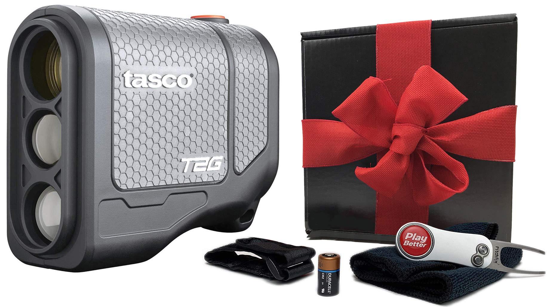 Tasco T2G (Standard Version) Gift Box Bundle | +Cart Mount, Pitchfix, Microfiber Towel & Extra CR2 Battery | 5X Mag, Scan Mode, | Golf Laser Rangefinder