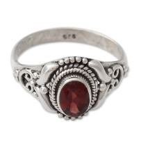 NOVICA Garnet .925 Sterling Silver Cocktail Ring, Traditional Romantic'