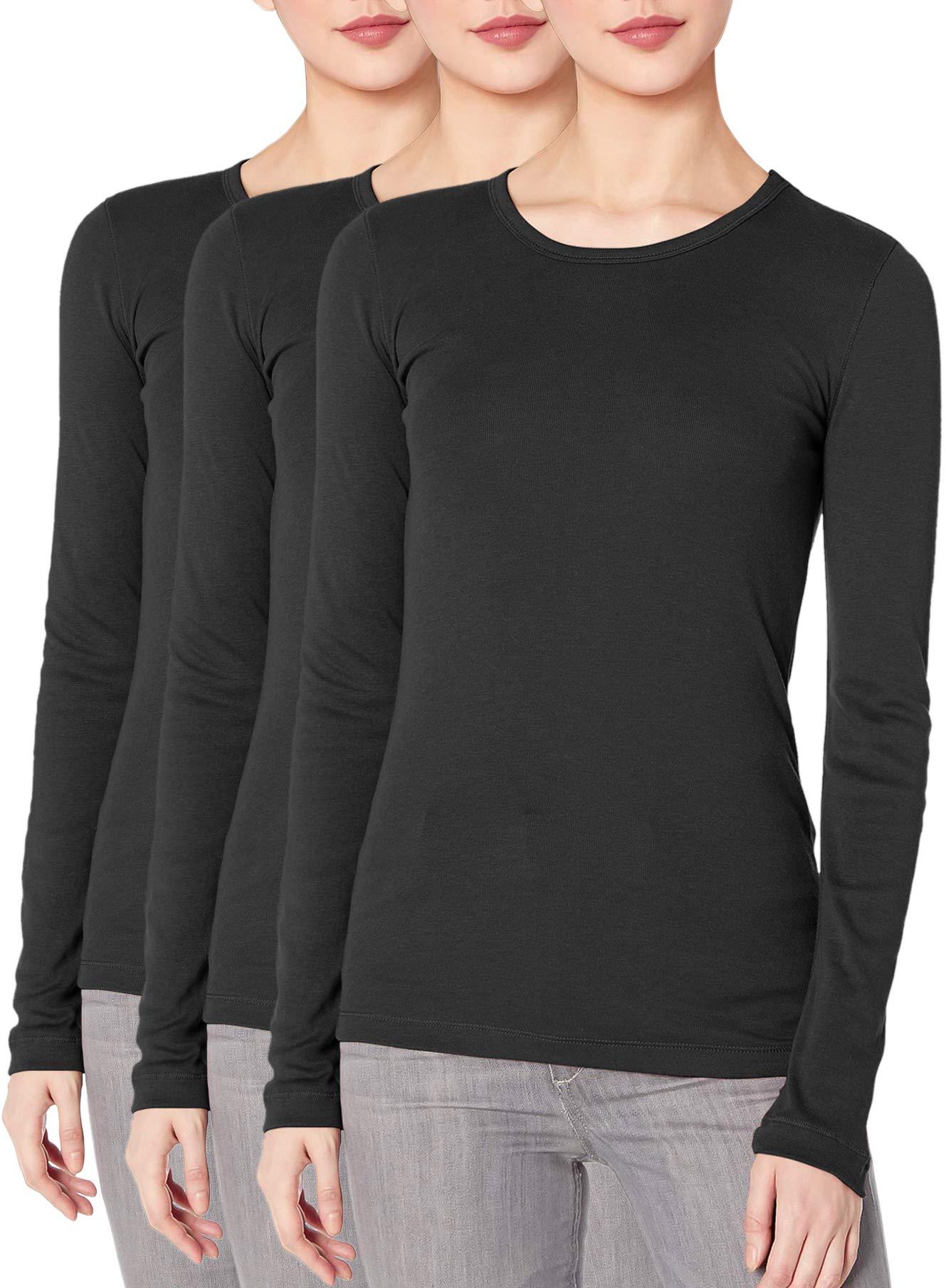TAIPOVE Women's Long Sleeve Shirts Tops Crewneck Lightweight Underscrub Tees Basic Layer T-Shirt Undershirt 2/3 Packs