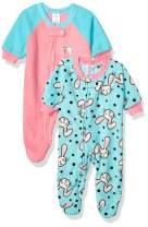 Gerber Baby Girls 2-Pack Blanket Sleeper, Blue/Pink Rabbit, 0-3 Months