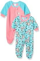 Gerber Baby Girls 2-Pack Blanket Sleeper, Blue/Pink Rabbit, 6-9 Months