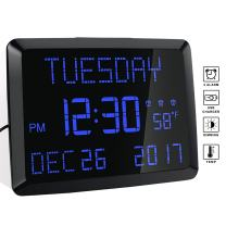 """Day Clock, 11.5"""" Extra Large Display LED Digital Desk & Wall Calendar Alarm Day Clock with Date and Time, Battery Backup & 3 Alarms - Perfect for Elderly, Impaired Vision, Seniors, Dementia"""