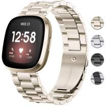 DAIKA Metal Bands Compatible with Fitbit Sense/Versa 3, Solid Stainless Steel Strap Replacement Wristband Business Bracelet Accessories with Metal Buckle Clasp for Sense/Versa 3 Smartwatch