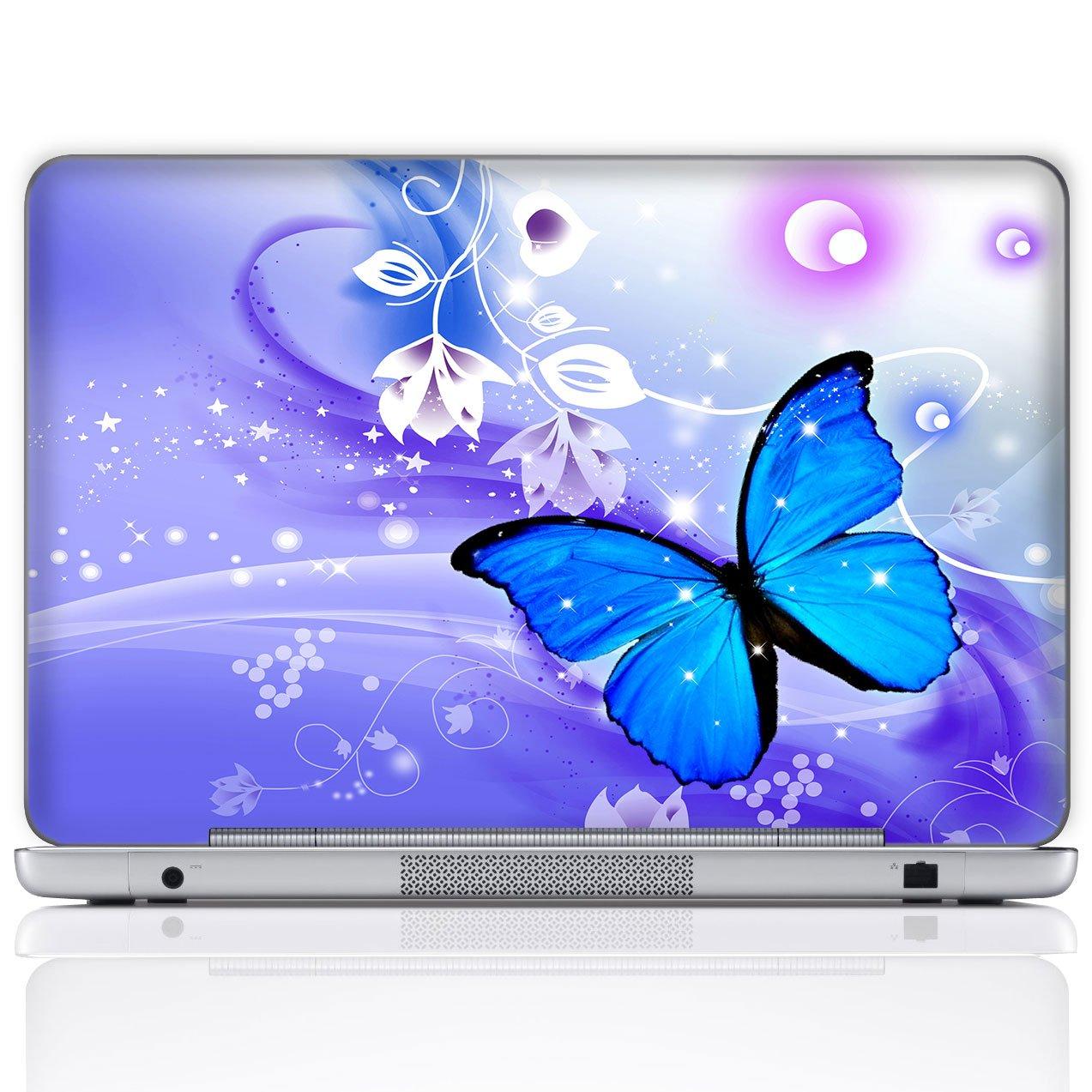 Meffort Inc 17 17.3 Inch Laptop Notebook Skin Sticker Cover Art Decal (Free Wrist pad) - Blue Purple Butterfly