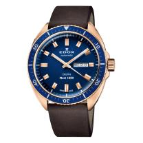Edox Men's Delfin Swiss-Automatic Diving Watch with Leather Strap, Brown, 22 (Model: 88004 BRZBU BUI