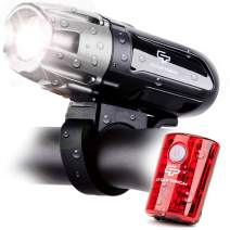 Cycle Torch Shark 550R USB Rechargeable Bike Light Set, Free USB Tail Light Included, Easy On Easy Off, Compatible with Mountain, Kids, Street and Road Bicycles