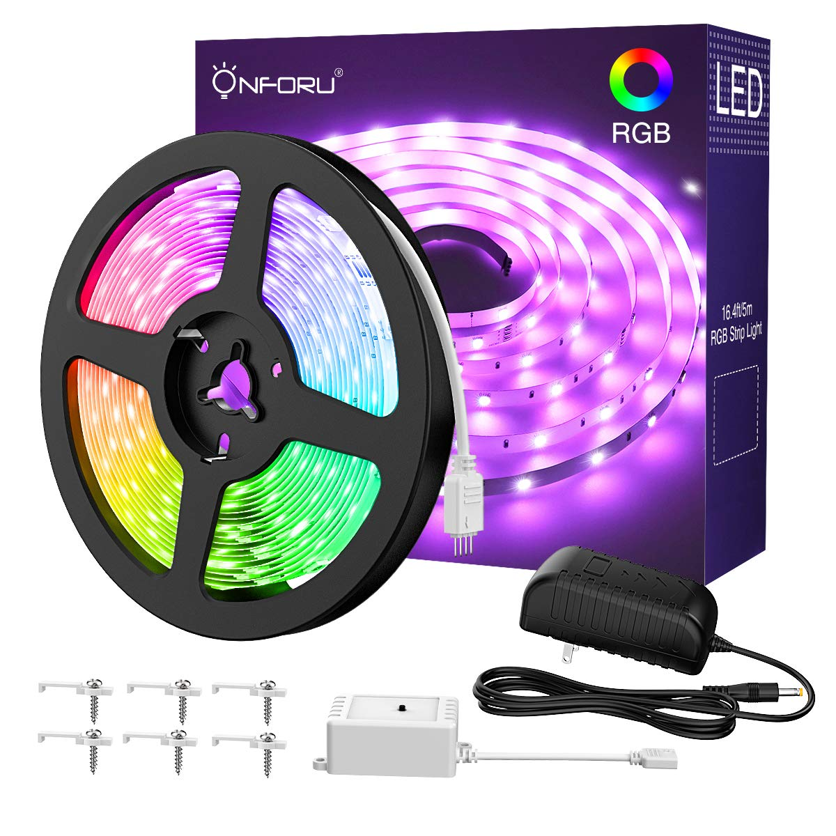 Onforu 16.4ft RGB LED Strip Lights Kit, 5m Flexible Color Changing Lights Strip, 150 Units 5050 RGB LED Rope Lights with 12V Power Supply and Controller for Home Christmas Decor